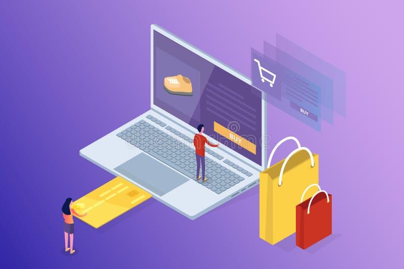 Opérations bancaires en ligne et Shoping, paiements mobiles, concept isométrique d'argent de transfert photo libre de droits