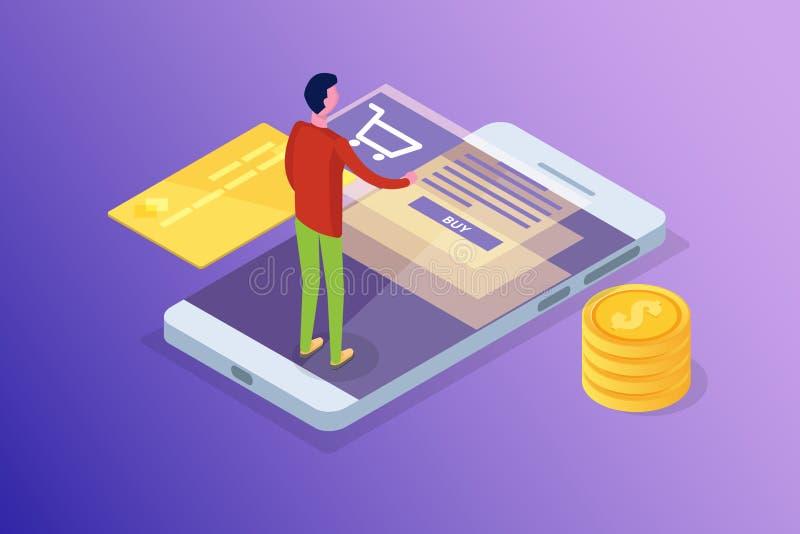 Opérations bancaires en ligne et Shoping, paiements mobiles, concept isométrique d'argent de transfert photographie stock libre de droits