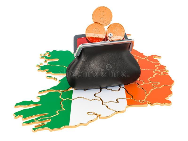 Opérations bancaires, investissement ou concept financier en Irlande rendu 3d illustration de vecteur