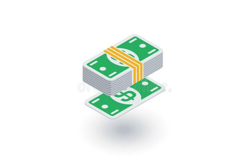 Opérations bancaires, paquet d'argent, icône plate isométrique de billets de banque du dollar vecteur 3d illustration de vecteur