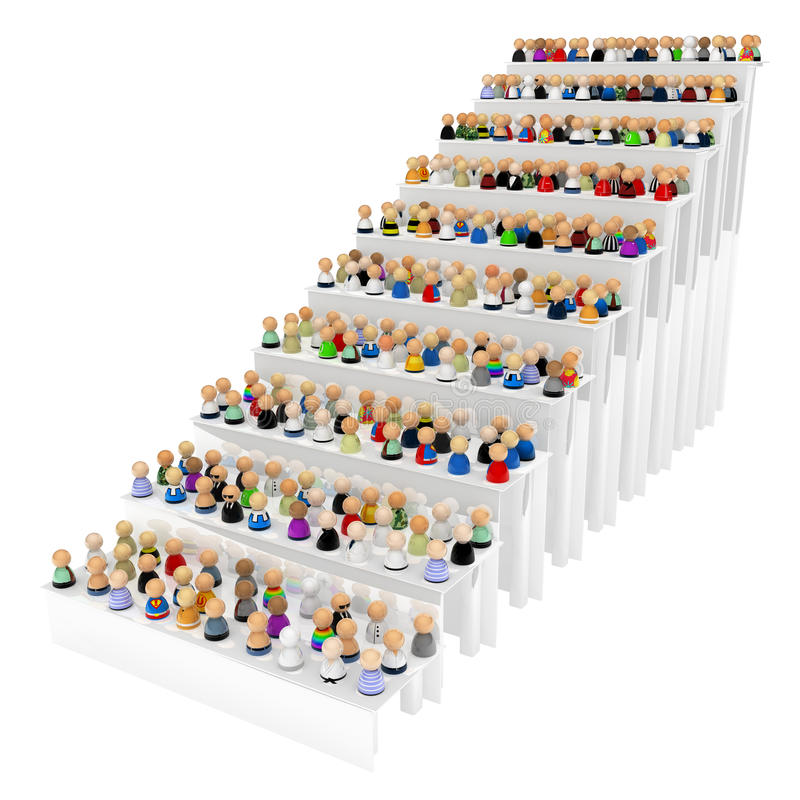 opérations d'escalier de foule de dessin animé illustration libre de droits