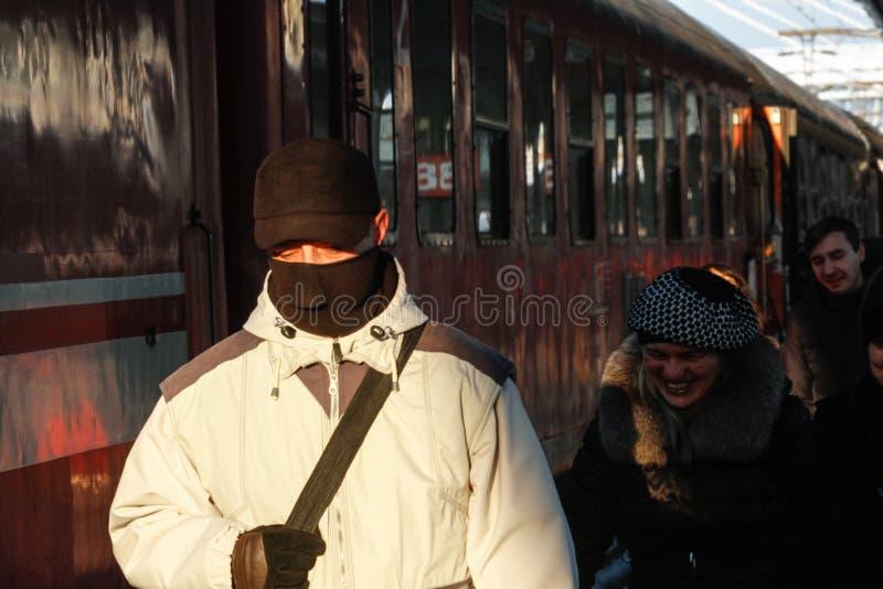 Opóźniający pociągi w zimie zdjęcie stock