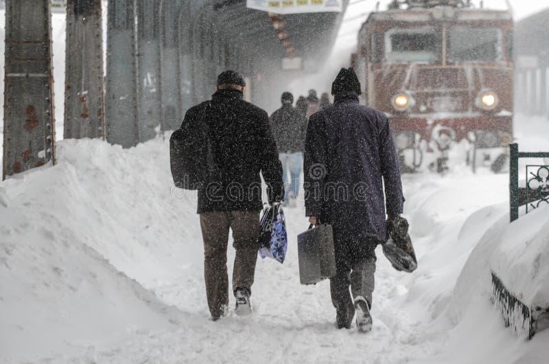 Opóźniający pociągi w zimie fotografia stock