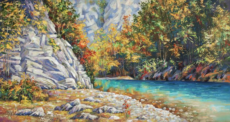 Opóźniona jesień na rzecznym Khosta Obraz olejny na kanwie ilustracja wektor