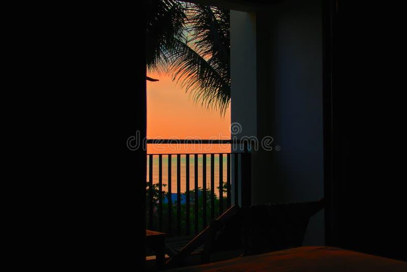 Opóźnionego wieczór krajobraz w zwrotnikach Widok ciemny pokój przy pomarańczowym zmierzchem nad morzem Sylwetka liście drzewka p zdjęcie royalty free