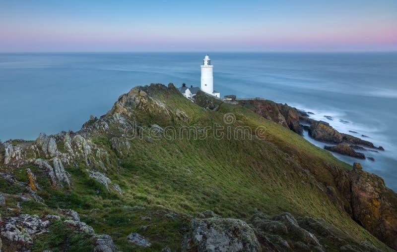 Opóźniony światło, początku punktu latarnia morska, Devon obrazy stock