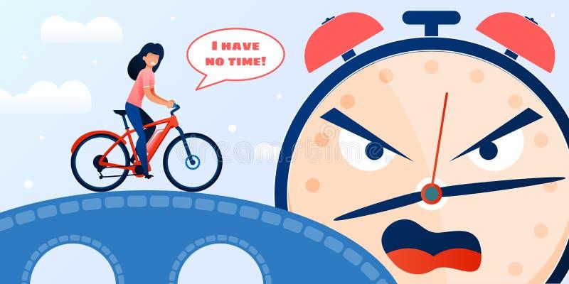 Opóźniony kobiety kolarstwo i mieszkanie budzika Krzyczeć royalty ilustracja