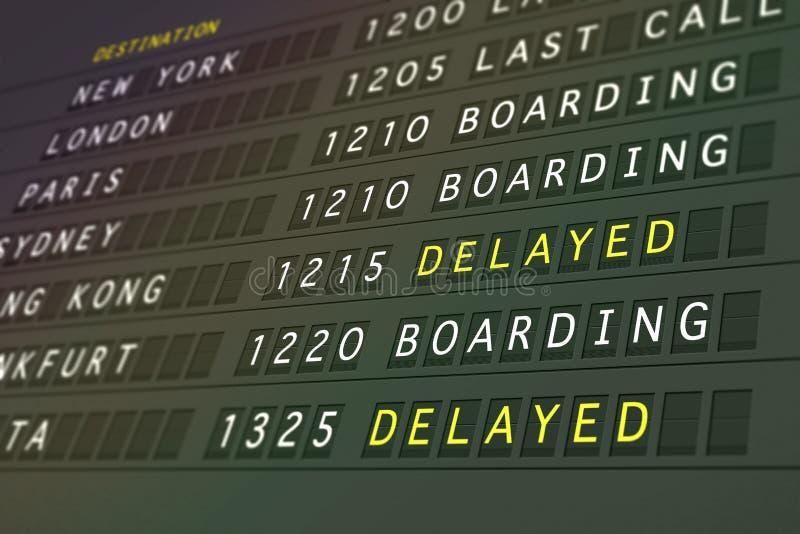 opóźniony lot wyjazdu ilustracji