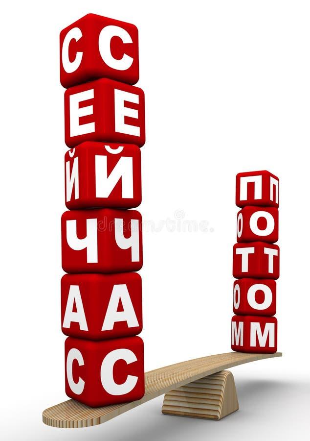 Op??niony lub teraz Rosjan?w s?owa na skalach ilustracji