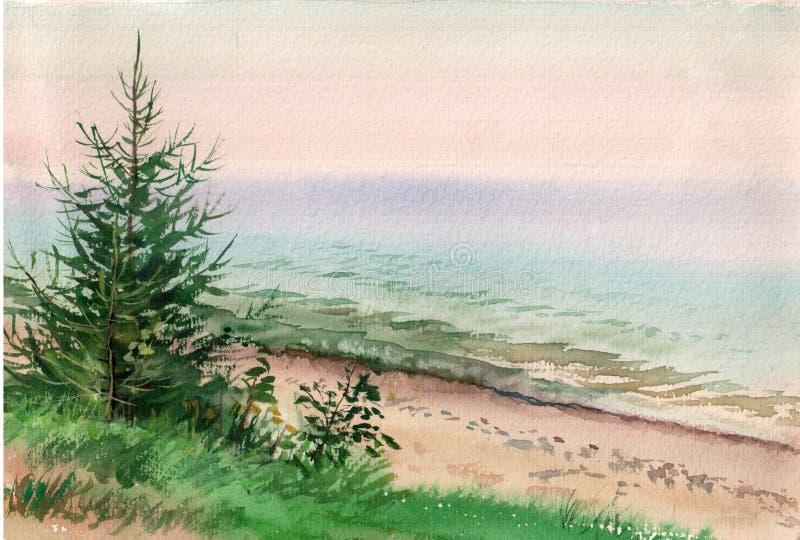 Opór drzewa przy jeziornym Baikal ilustracji
