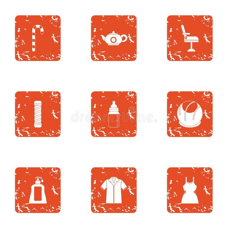 Opór odzieży ikony ustawiać, grunge styl royalty ilustracja