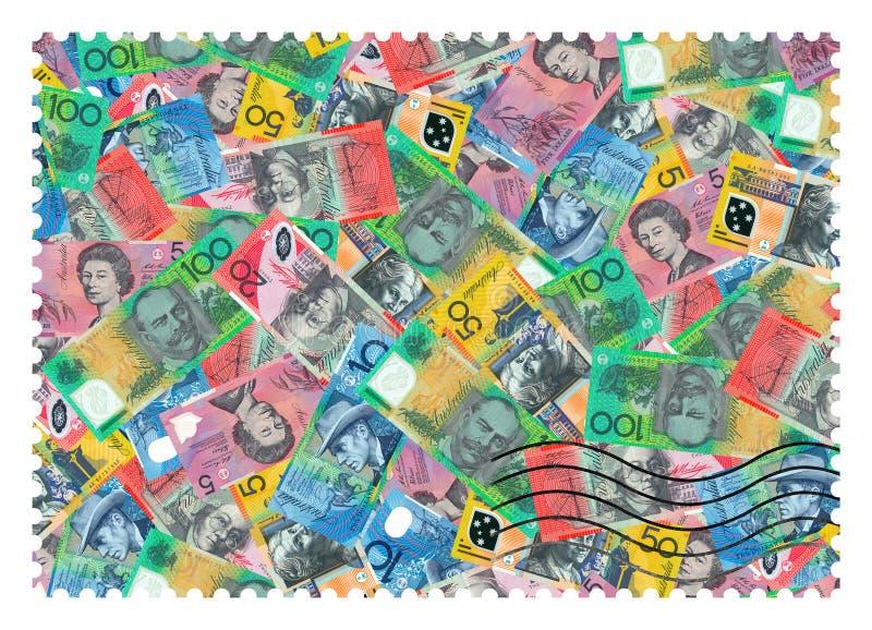 opłata pocztowa s stempluje u Dolary australijscy abstrakta tła zdjęcie stock