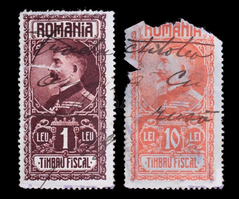 opłata pocztowa s stempluje u Rumunia Rzadki 1927 królewiątko Ferdinand Ja zdjęcia stock