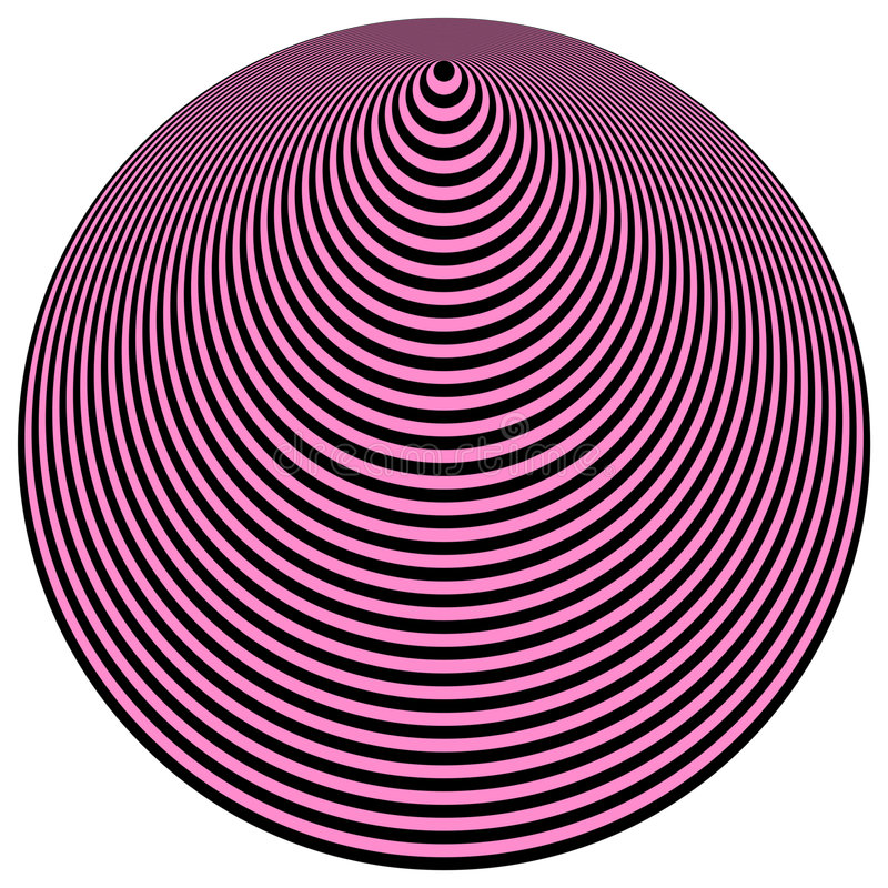 Op Art Concentric Circles Light Purple Over Black vector illustration