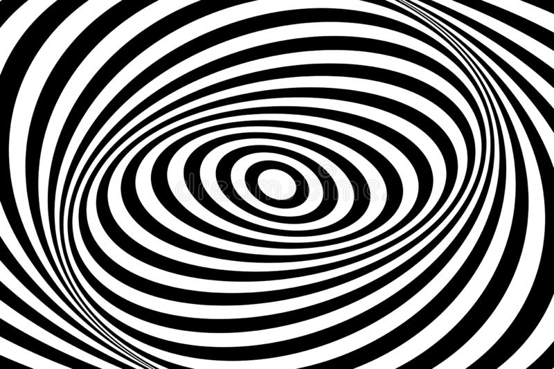 Op art design. Swirl movement illusion. Oval lines pattern and texture. Vector art vector illustration