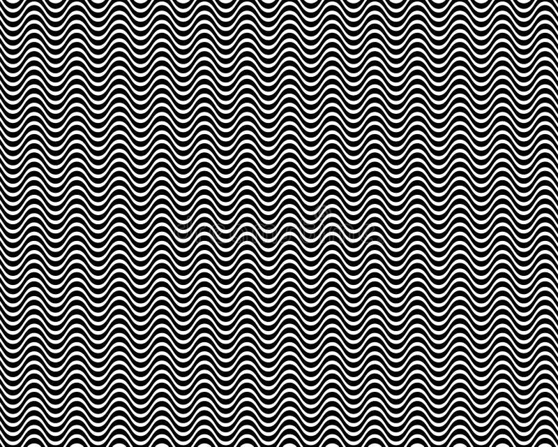 Op Art Horizontal Waves Black and White 01 royalty free illustration