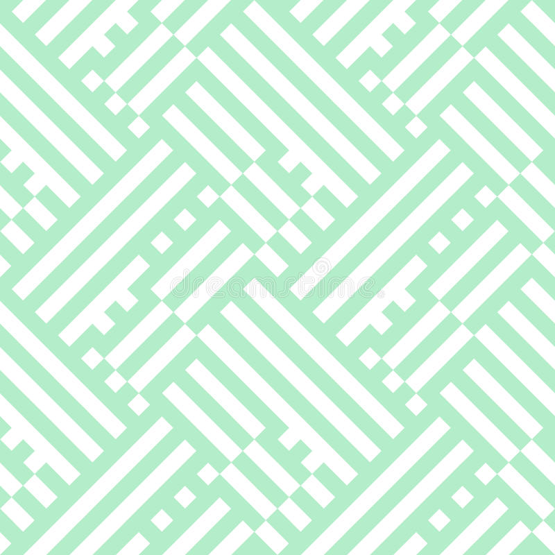 Op art seamless geometric striped pattern. Striped pattern in white and mint green for summer spring fashion. Vector geometric background with overlapping stock illustration