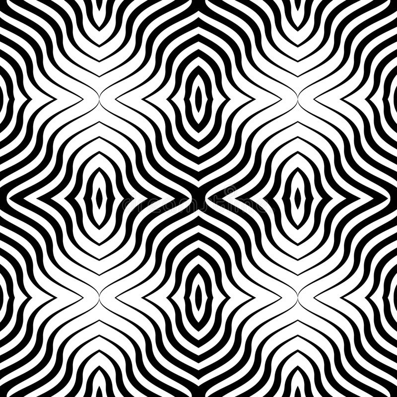 Op Art Vector Seamless Geometric Pattern royaltyfri foto