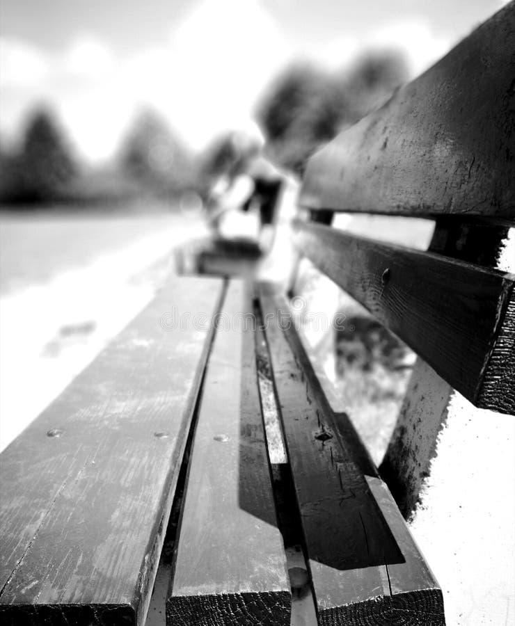Op de bank Rust in openluchtpark Artistiek kijk in zwart-wit stock fotografie