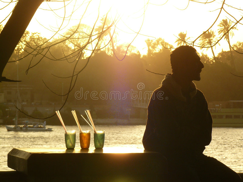 Op de bank van de rivier van Nijl royalty-vrije stock foto's