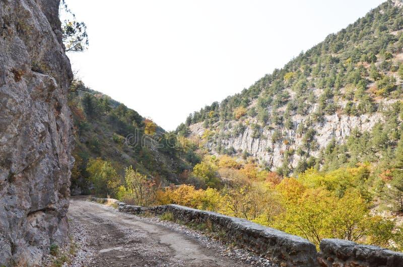 Op de bergWeg stock afbeeldingen