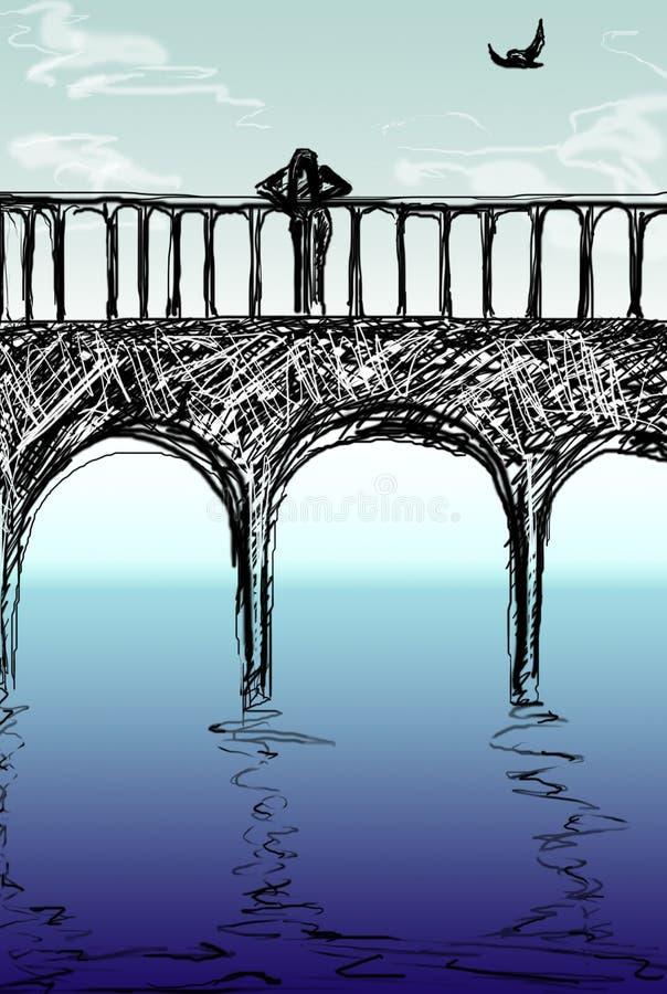 Op de brug royalty-vrije stock afbeelding