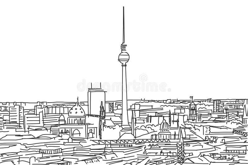 Op de daken van het gekrabbel van Berlijn royalty-vrije illustratie