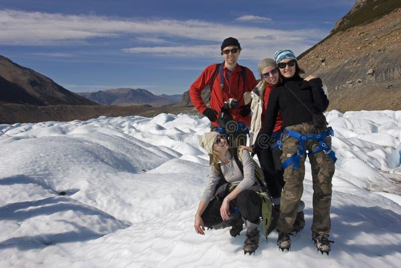 Op de gletsjer Cerro -cerro-torre stock fotografie