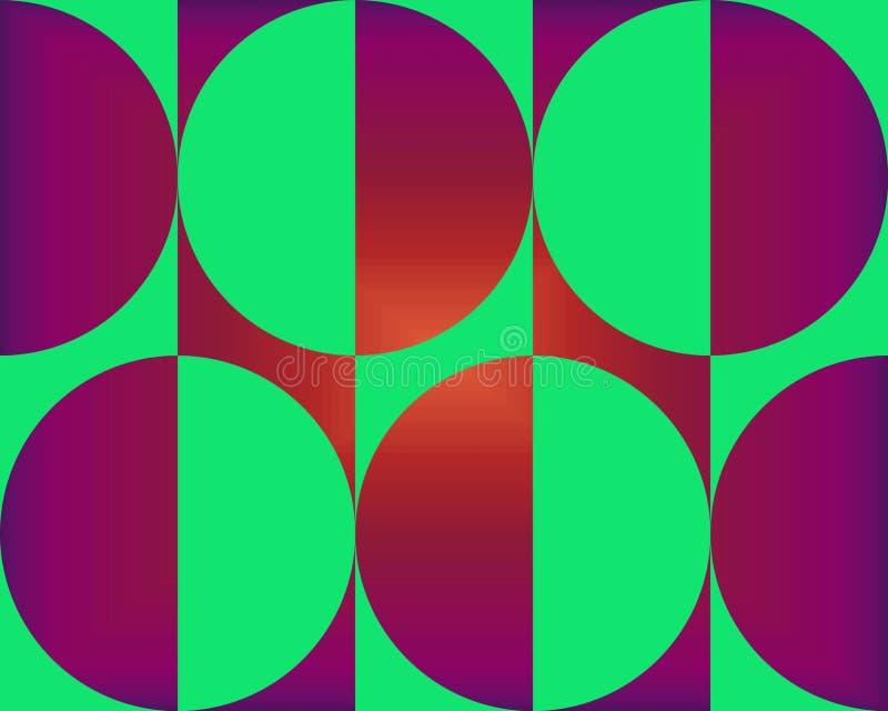 Op de Grote Donkerrood en Groene Cirkels van de Kunst royalty-vrije illustratie