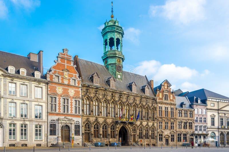 Op de Grote plaats in Mons - België stock afbeelding