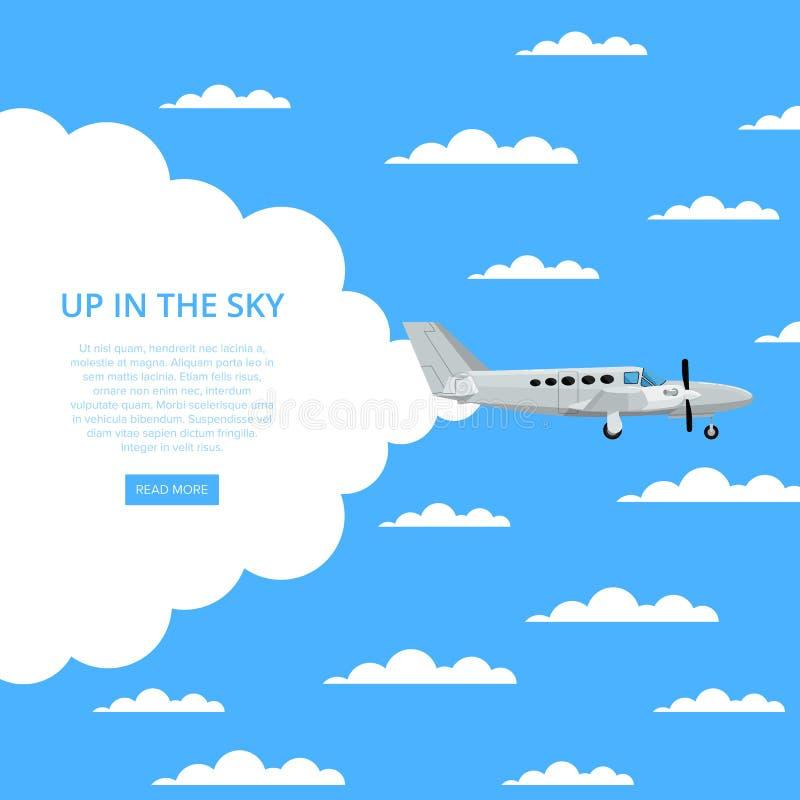 Op in de hemelaffiche met propellervliegtuig vector illustratie