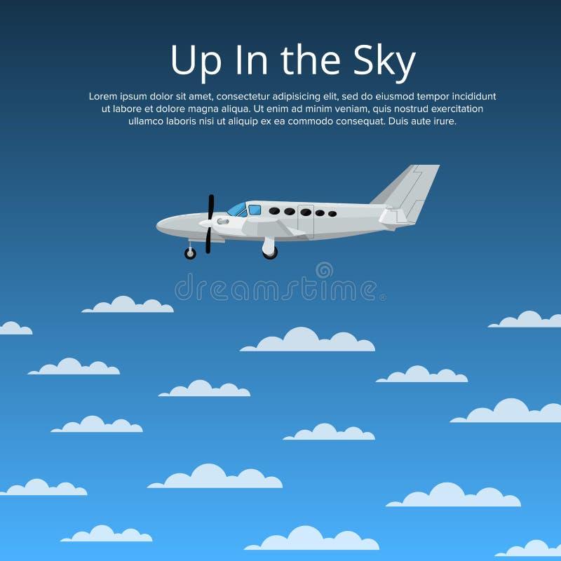 Op in de hemelaffiche met propellervliegtuig royalty-vrije illustratie