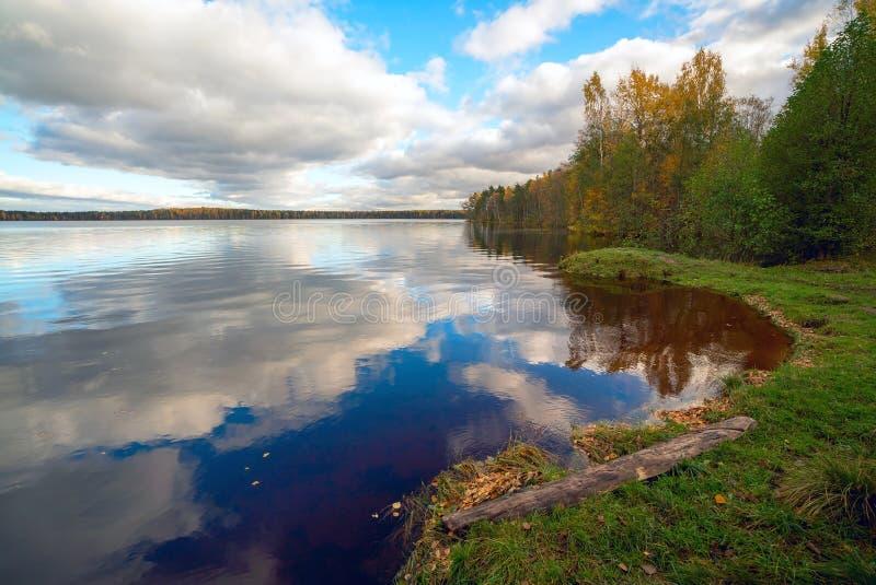 Op de kust van het meer in de herfst stock fotografie
