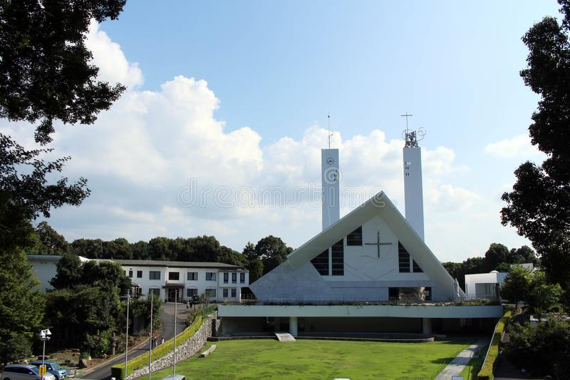 Op de manier aan Xavier Church in Yamaguchi, Japan royalty-vrije stock fotografie