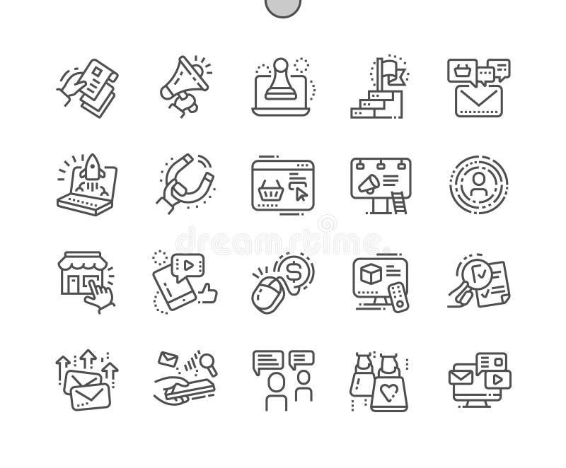 Op de markt brengend goed-Bewerkte Pictogrammen 30 van de Pixel Perfecte Vector Dunne Lijn 2x Net voor Webgrafiek en Apps stock illustratie