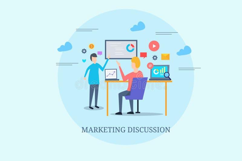 Op de markt brengend team die strategie, analytics, begroting, inhoud, planningsideeën bespreken Marketing vergaderingsconcept Vl royalty-vrije illustratie