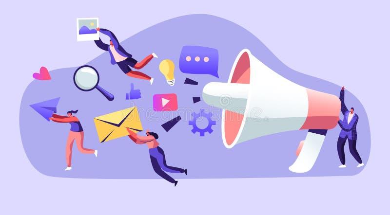Op de markt brengend Team Work die met Reusachtige Megafoon, Mededeling, Alarm, Propaganda, Toespraakbellen en Sociale Media Pict royalty-vrije illustratie