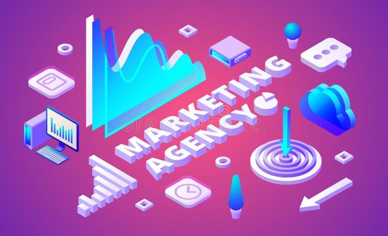 Op de markt brengende agentschap isometrische vectorillustratie vector illustratie