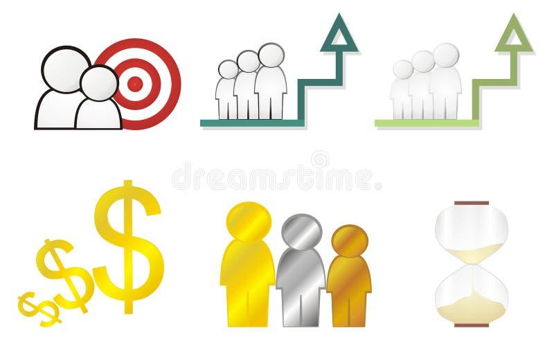 Op de markt brengende pictogrammen royalty-vrije stock afbeeldingen