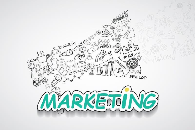 Op de markt brengende tekst, met creatief tekeningsgrafieken en grafieken het planidee van de bedrijfssuccesstrategie, het modern stock fotografie