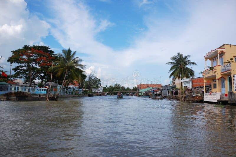 Op de Mekong rivier stock foto