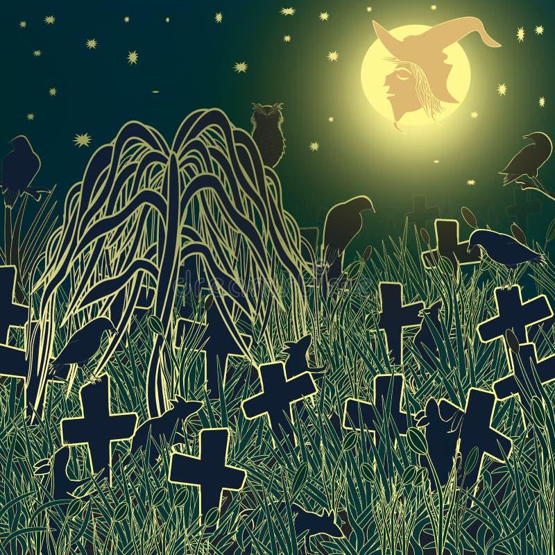 Op de nacht van Halloween in de oude begraafplaats stock foto