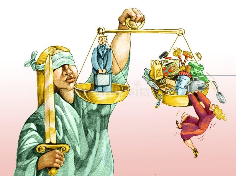 Op de schalen van rechtvaardigheid voor mannen en vrouwen royalty-vrije illustratie