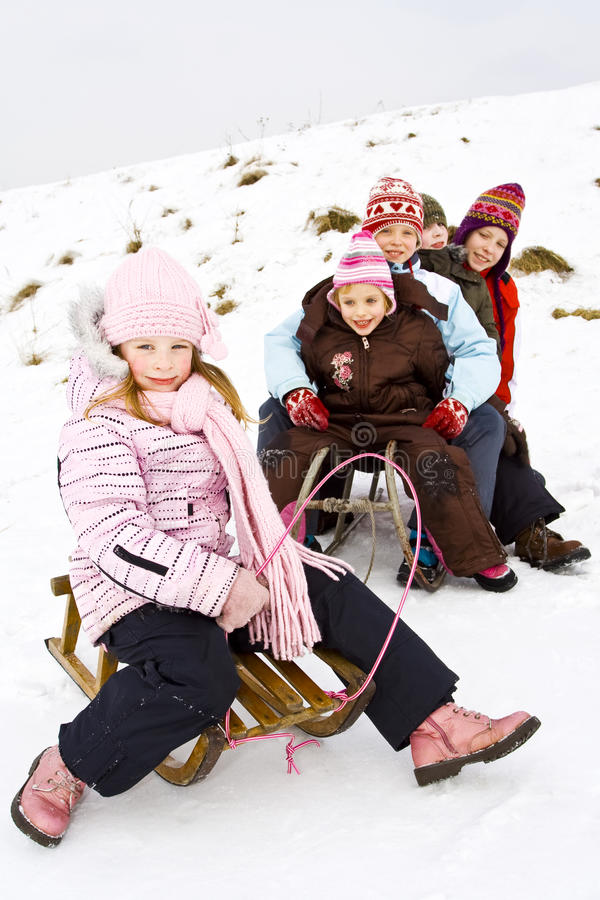 Op de sneeuw stock fotografie