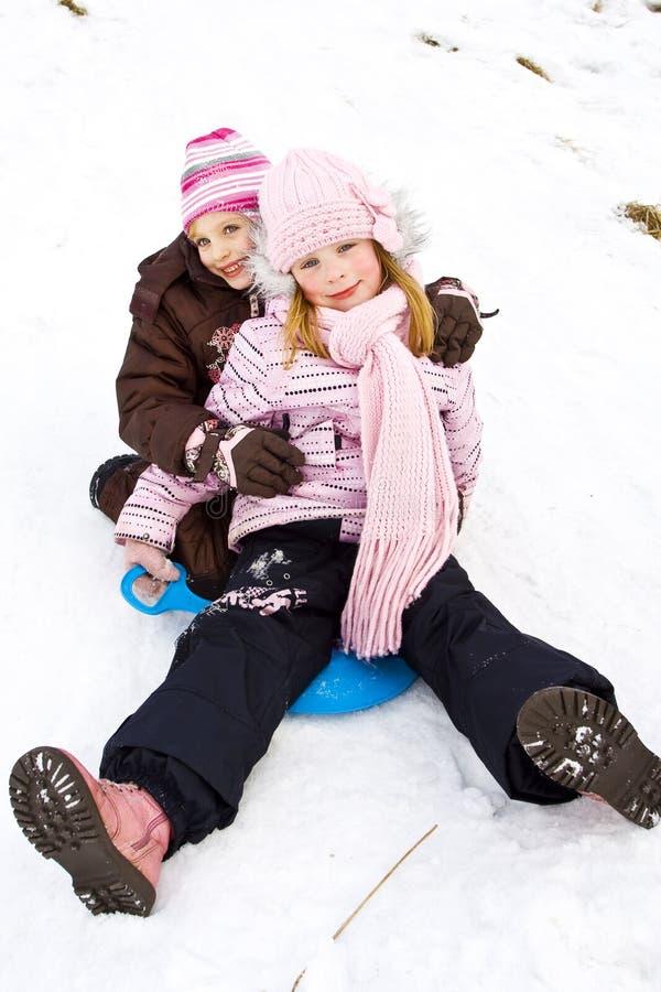 Op de sneeuw stock afbeelding