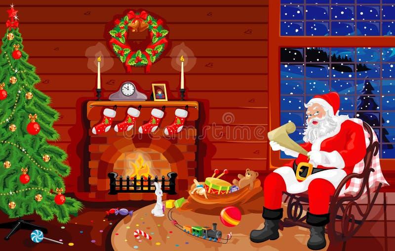Op een bezoek bij Kerstman royalty-vrije illustratie