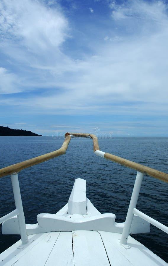 Op een boot stock afbeelding