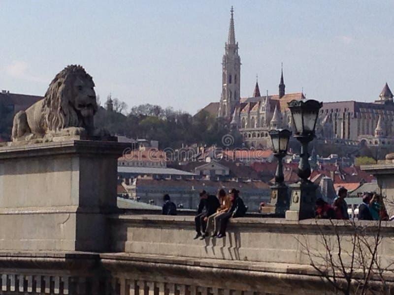 Op een brug in Boedapest stock foto
