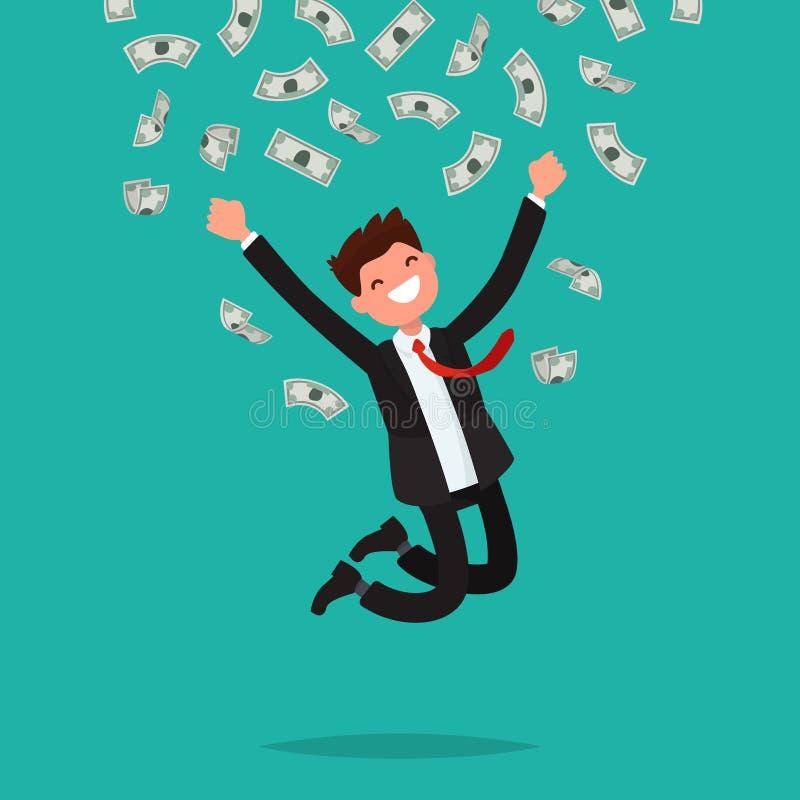 Op een mens zijn dalende geldrekeningen Blije onderneemster die F springen royalty-vrije illustratie