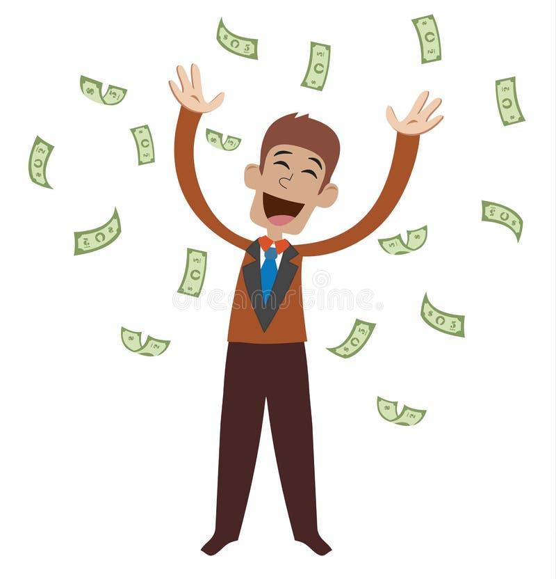 Op een mens zijn dalende geldrekeningen Blije zakenman die van geluk springen royalty-vrije illustratie